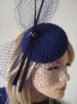 "Blue Silk Beaded Veil Quills Cocktail Hat Button Headpiece Fascinator Hatinator ""Kristina"""